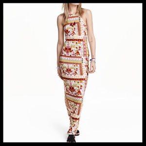 NWT H&M Coachella Floral Halter Neck Maxi Dress